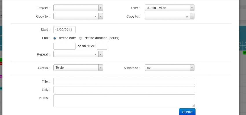 Task creation form in online project management tool
